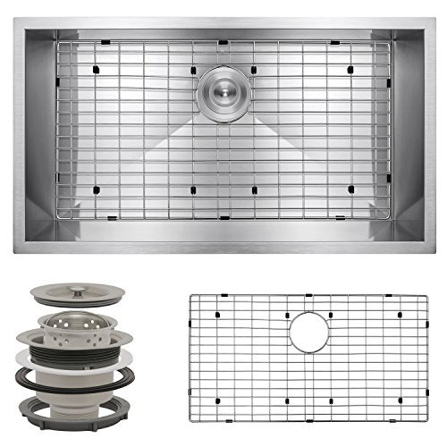Perfetto Kitchen and Bath 32 Undermount Single Bowl 16 Gauge Stainless Steel Kitchen Sink with Drain and Dish Grid by Perfetto Kitchen and Bath - Bowl Kitchen 16 Gauge Sink Single