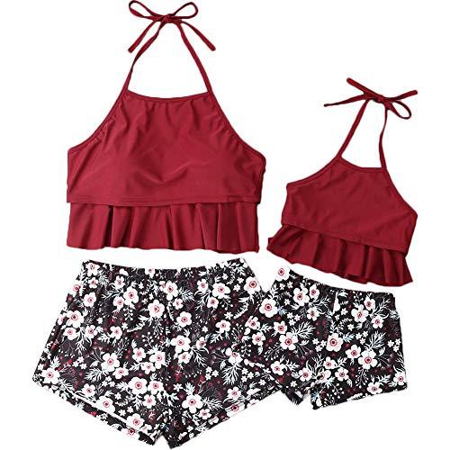 Shawnlen Parent-Child-Badebekleidung-Set gepolsterte Rüsche plissiert Neckholder hohe Taille Blumenmuster Outfit Set Badeanzug Mutter und Tochter passende Kleidung 2 Stück (2 Jahre/Kind, rot-Kind) -
