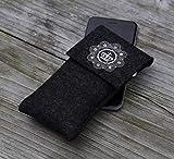 zigbaxx Handyhülle Filz Handytasche ROYAL für Huawei Mate 20 10 lite, P20, P10, P smart, Y5 Y6 Y7 2018, nova 2, Smartphone-Hülle handmade Wollfilz Krone - pink schwarz beige grau braun - Geschenk Frau