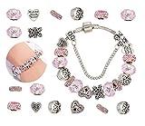 Pulseras Niñas Adolescentes Mujer DIY Bricolaje artesanal de plata chapado en rosa cuentas de cristal regalo de joyería mágica brillo