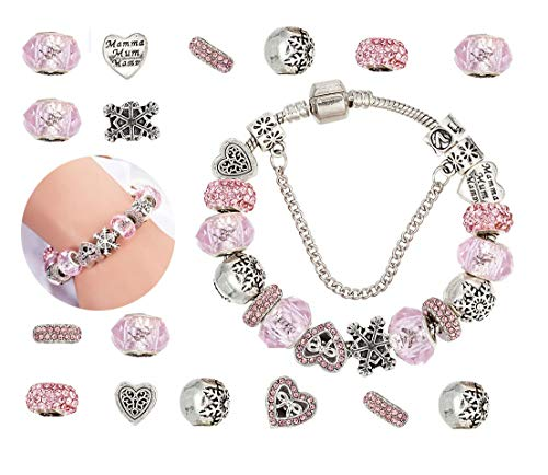 Mädchen DIY Handwerk Europäische Perle überzogen mit Silber Kette Schmuck Geschenk für Frauen Teens ()