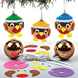 Bastelsets für Rotkehlchen-Weihnachtskugeln für Kinder zum Basteln, Verzieren und Gestalten – Kreatives Bastelset für Kinder zu Weihnachten (6 Stück)