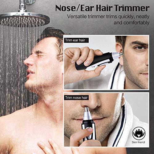 Cortapelos Nariz y Oreja -  2019 Profesional Nose Hair Trimmer sin Dolor LED Cuchillas de Acero Inoxidable Afeitadora para Nariz Oído y Pelo Facial Cabeza Desmontable Lavable(Negro)