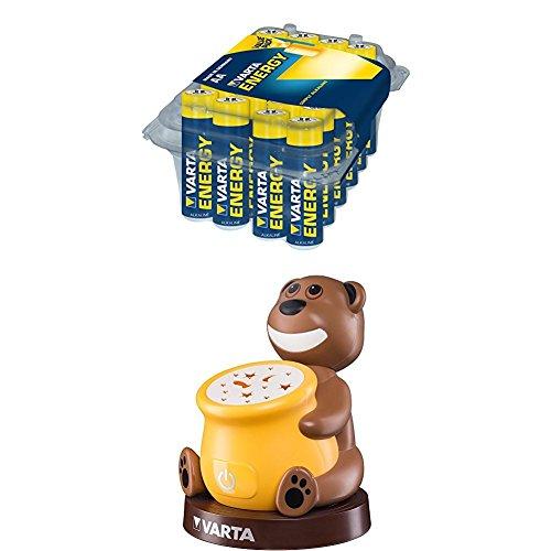 Varta Energy Stilo Batterie Alcaline AA, Confezione da 24 + Paul the Bear Night Light Lampada LED da Comodino per Bambini, 3 Batterie High Energy AA Stilo Inclus