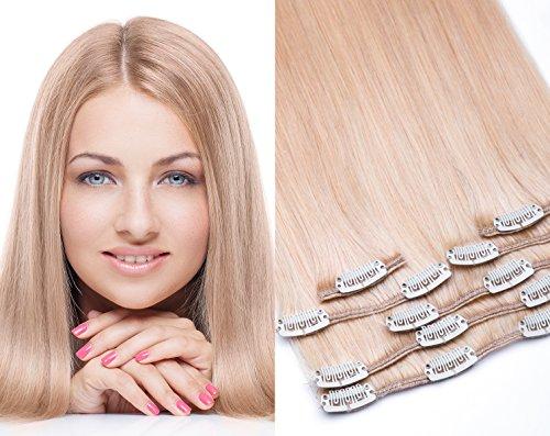 Remy Clip In Extensions Set 100% Echthaar 7 Teilig 70 Gramm Hochwertige Haarverlängerung und Haarverdichtung in 40cm Länge Clip-In Hair Extension Nr.24 Blond