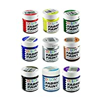 Dylon Fabric Paint Set - Complete Set - 9 x 25ml (Red, Yellow, Green, Royal Blue, Turquoise, Bronze, Silver, Dark Brown, Purple)