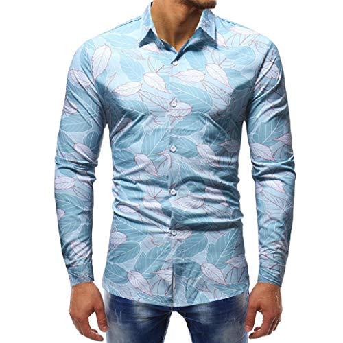 UJUNAOR Herrenmode Gedruckt Bluse Lässig Langarm Slim Fit Shirts Tops(3XL,Blau)