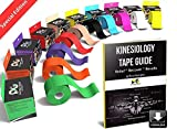 Physix Gear Sport Kinesiology Tape - Free Illustrated E-Guide - 5cm x 5m Uncut Roll - Best Pain Relief Adhesive for Muscles, Shin Splints Knee & Shoulder - 24/7 Waterproof Therapeutic Aid (1PK RED)