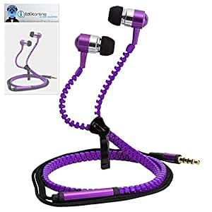 Purple Premium 3.5mm Aluminium ZIPPER In Ear Stereo Wired Headset Hands Free Headphones with Built in Mic Microphone and On Off Button For Alcatel One Touch 605