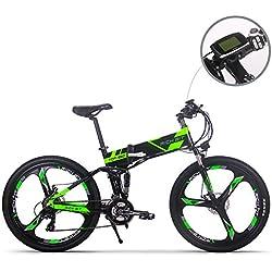 Nuevo actualizado Rich Bit®Rt-860 36 V * 250 W eléctrico para bicicleta híbrida de montaña MTB Bike Bicicleta Ciclismo Impermeable Marco interior calidad Ion de litio marco plegable aleación de aluminio horquilla de suspensión (26, rueda de radios de rueda integrada/rojo magnesio (magnesio rueda integrada)