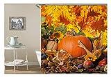 AmDxD Polyester Duschvorhang Kürbis Sonneblumen Gemüse Früchte Design Badewannenvorhang Bad Vorhang Bunt für Badezimmer Waschbar 150x180CM