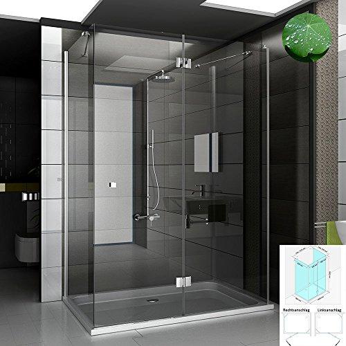 Nano Beschichtete Designer U-Form Duschkabinen 90x140 cm aus Echtglas von Alpenberger
