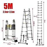 Aurora Double Telescopic Aluminium ladder 5 meter (16.5 feet) - Stores at 3 feet - A Frame 8 feet - Wall Support 16.5 feet - , Mag Hinge & Dual Ultra Stabilizer - Ultra portable