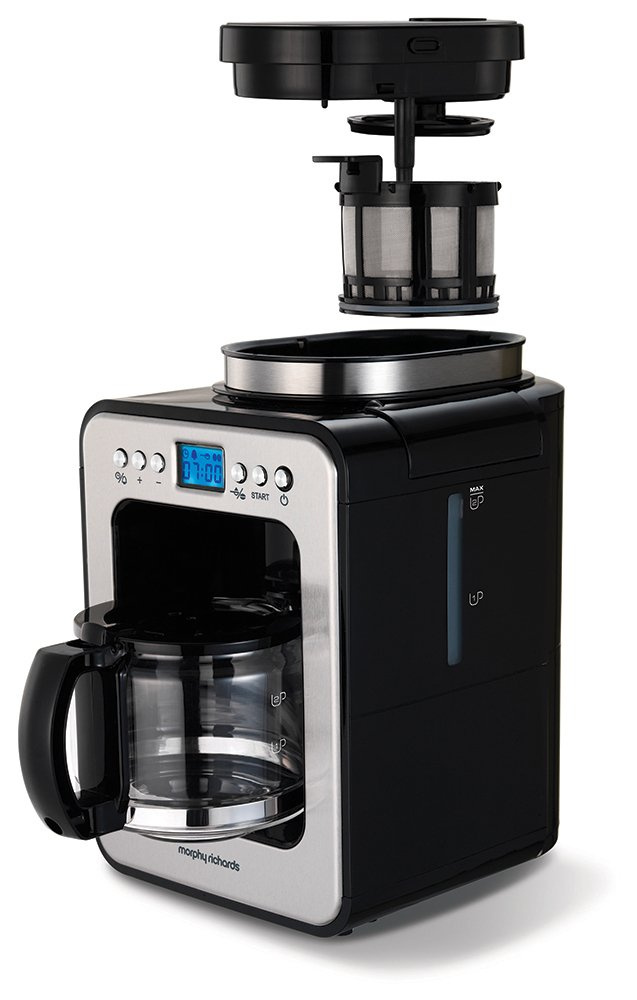 Morphy Richards 162100 Bean to Cup Grind and Brew Coffee Machine, Glass, 600 W, Black/Brushed