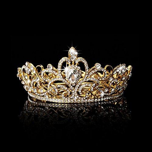 Gjyia Hochzeit Braut Festzug König Crown Tiara Strass Diamante Kopfschmuck Schmuck gelb