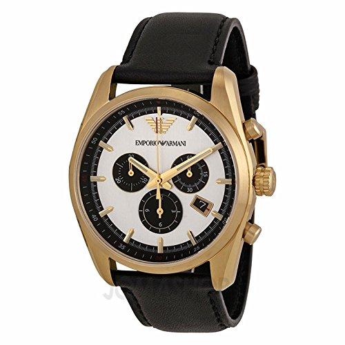 Armani Emporio Armani Sportivo Chronograph Silver and Black Dial Black Leather Mens Watch AR6006