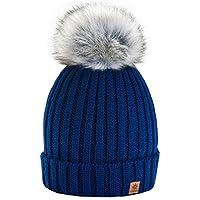 4sold Funy Beanie Baby Kids Girls Boys Hat London Wool Knitted with Pom Pom Winter Warm SKI Snowboard Hats