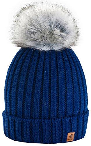 4sold Rita Kinder Wurm Winter Style Beanie Strickmütze Mütze mit Fellbommel Bommelmütze HAT SKI Snowboard (Navy Blue) (Passt Boys Blue Navy)