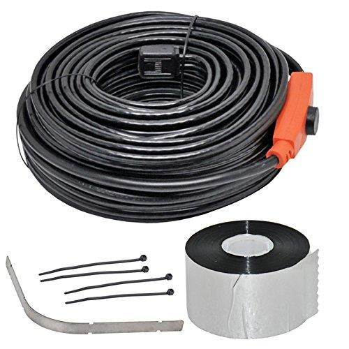 Kit : Câble chauffant antigel 24m, cordon chauffant, chauffage gouttière avec protection des bords + 50m ruban adhésif