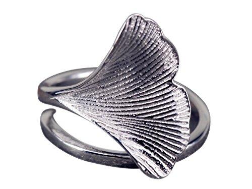 NicoWerk Silberring Ginkgo-Blatt Ginko Natur Ring Silber 925 Verstellbar Damenringe Damen Schmuck SRI229