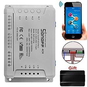 electrodomesticos por internet: Sonoff 4CH Pro R2 Interruptor Inalámbrico Inteligente WiFi Conmutador de Control...