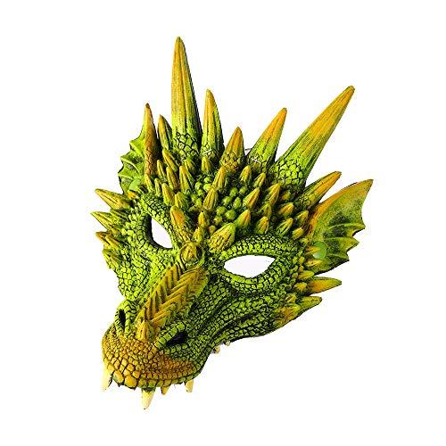 Fantasy Drache Halbes Gesicht Halloween Karneval Maske (grün, M) ()