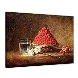 Bilderdepot24 Leinwandbild - Jean Siméon Chardin - der Erdbeerkorb - 120x90cm XXL Einteilig - Alte Meister - Bilder als Leinwanddruck - Kunstdruck - Leinwandbilder - Bild auf Leinwand - Wandbild