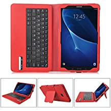 IVSO Funda de Cuero con Teclado Bluetooth para Samsung Galaxy Tab A 10.1 2016 T580N/T585N Tablet - con Removable Keyboard(Rojo)