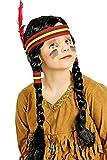 Perücke Indianerin für Kinder - Perücke mit geflochtenen Zöpfen und Haarband - Tolles Accessoire für das Indianer Kostüm