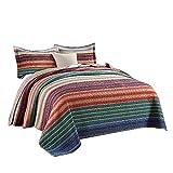 Unimall Tagesdecke Baumwolle Patchwork Bettüberwurf Landhaus Stil mit bunten Streifen pflegeleicht, 250cm x 270cm