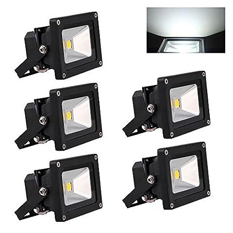 Hengda® 5 Stück 10W SMD LED Strahler Fluter IP65 Flutlicht Leuchtmittel (KaltWeiss)