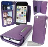 LOVE MY CASE / Purple PU Leather Wallet case with Magnetic Detachable Hard Cover For Apple iPhone 5c with Love My Case Cloth
