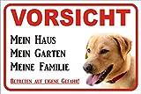 Schild Vorsicht Labrador Retriever gelb/ beige