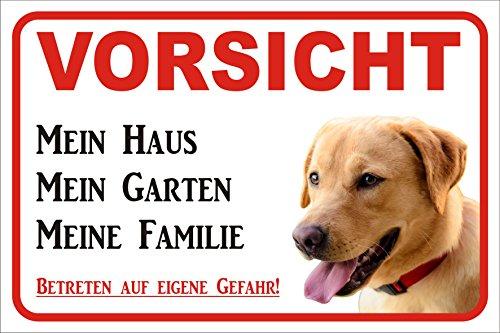 AdriLeo Schild Vorsicht Labrador Retriever gelb/beige Mein Haus 15x20 oder 20x30 (15x20cm) -