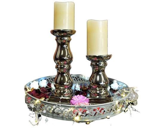 Keramik Kerzenhalter Kerzenständer Kerzen Leuchter Shabby Chic Vintage 2er Spars -