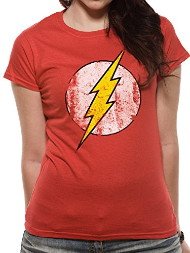 CHARACTER the Flash-Logo, T-Shirts Donna, Red, Large
