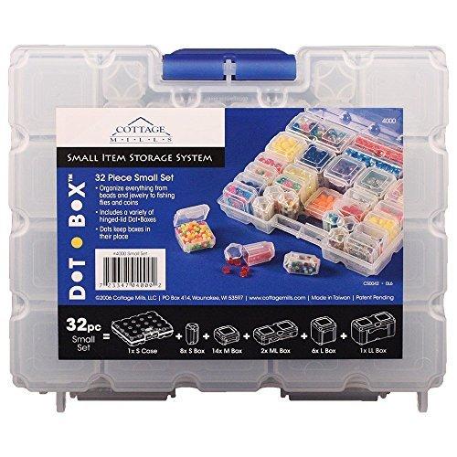 DotBox Small Set 32-tlg. 31 Aufbewahrungsboxen in einer Tragetasche. Es ist das ultimative Aufbewahrungssystem für kleine Gegenstände. Perfekt für Perlen, Schmuck, Kunsthandwerk und Aufbewahrung