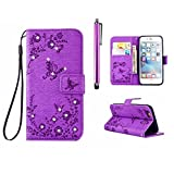 Samsung Galaxy A510 (2016) Diamond Wallet Case, MUTOUREN Magnetic Snap PU Leather Wallet Cover [Free Metal Stylus Pen] Bling Glitter Rhinestone Hybrid Silicone Rubber Gel Back Bumper Anti Scratch Shockproof Protective Shell - Flower and Butterfly, Purple