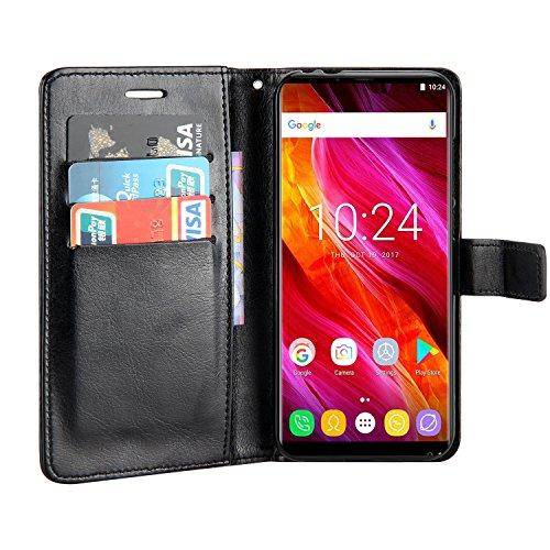 Raiphy Leder Brieftasche Hülle für Oukitel Mix 2,Telefon schützender lederner Fall mit Einem Einbauschlitz und Standfunktion (Schwarz)