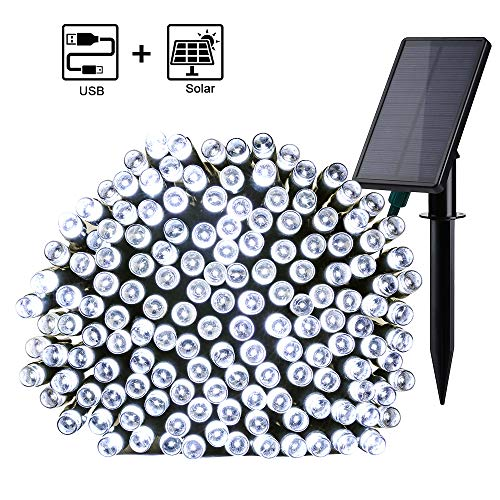 Qedertek luci solare da esterno, catena luminosa solare 23.5m 220 led, 8 modalità di lampeggiata, 2 selezione di ricaricare con sole oppure usb, luci decorativa per giardino, terrazza (bianco)