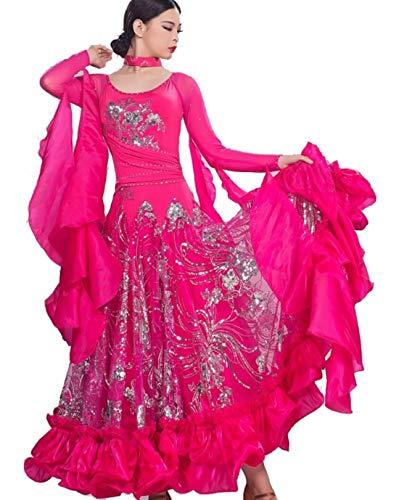 leid für Frauen Frauen National Standard Ballsaal Tanz Outfit Für Frauen Professionel Performance Wettbewerb,Pink,XXXL ()
