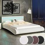 MIADOMODO Kunstlederbett mit LED-Beleuchtung, Doppelbett in Creme, Größe 160 x 200 cm aus Holz & Metall