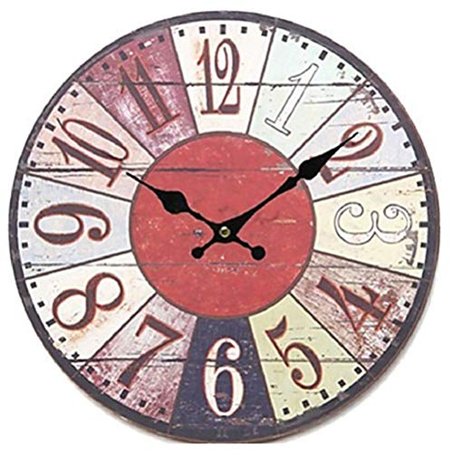 Ailing antique/casual / country wood round indoor, orologio da parete a batteria,a,m