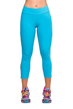 Womens Light Blue Cotton Spandex Jersey Capri Leggings Sport Pants ...