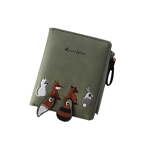 LEvifun Women Coin Purse Fox Print Mini Handbag Money Pouch Bifold Wallet Mini Bag Retro Vintage Credit Card Holder Key Ring Change Purse Pocket for Women Teen Girl