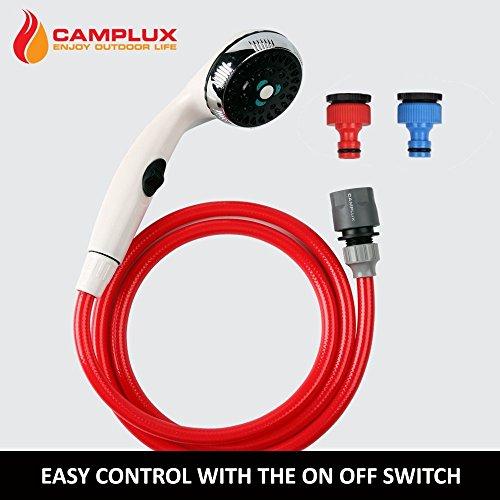 camplux 1,5m Dusche Kopf-Kit mit An/Aus Schalter und Halterung für Camping/Außenbereich