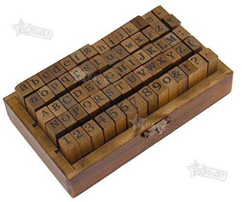 Generic Buchstaben-Set aus Holz mit Buchstaben, Alphabet, Kleinbuchstaben und Zahlen