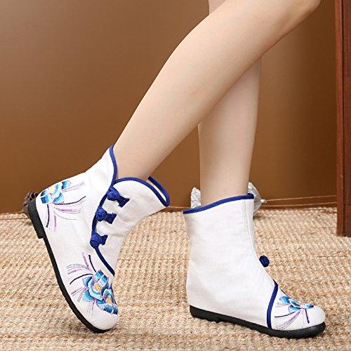 KHSKX-Brodé De Beijing Vieilles Chaussures Bottes Style Folklorique Court Bottes Accrue Des Femmes Les Bottes De Bottes Martin White Thirty-eight