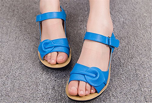 Der Sandalen Flach Wealsex Damen Bequeme Rxebdcow Schuhe Blau QxdWECoBre