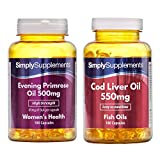 SimplySupplements Evening Primrose Oil 500mg 360 Capsules + Cod Liver Oil 550mg 360 Capsules |Heart & Immune Health Support from Simply Supplements